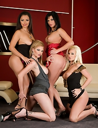 Four amazing, elegant babes showing their boobs and asses